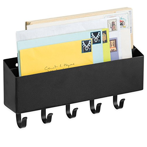 MyGift Wall-Mounted 2-Slot Metal Mail Sorter with 5 Key Hooks, Black by MyGift
