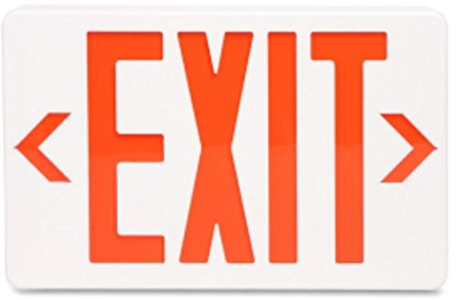 - Tatco LED Exit Sign with Battery Back-Up, 8 3/4