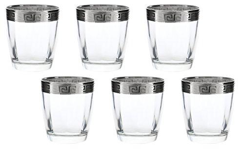 Italian 9oz Greek Key Silver Accented 6-Piece Glass Hi-Ball Set