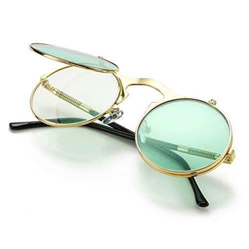 COASION Vintage Round Flip Up Sunglasses for Men Women Juniors John Lennon Style Circle Sun Glasses(Gold Frame/Green Lens)