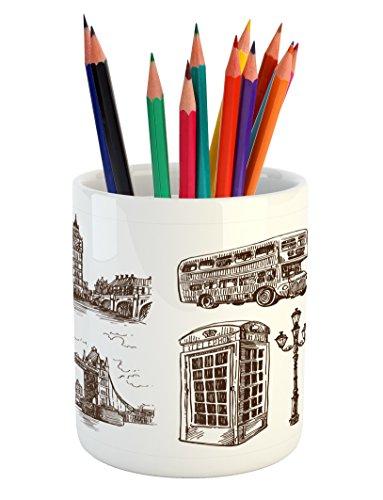 Cheap  Lunarable Sketchy Pencil Pen Holder, Historical Popular London City Icons Sketch Design..