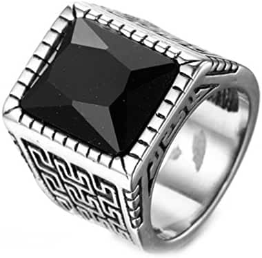 JAJAFOOK Vintage Retro Mens Stainless Steel Square Zirconia Signet Rings Engagement Wedding,Maze Style