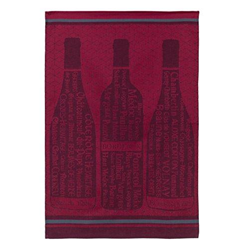 Coucke French Cotton Jacquard Towel, Bouteilles de vin Bordeaux (Red Wine Bottle), 20-Inches by 30-Inches, Red (Towel Bar Bordeaux)