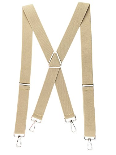 Romanlin Mens Suspenders with Hooks on Belt Loops Heavy Duty Big and Tall Braces Tan by Romanlin
