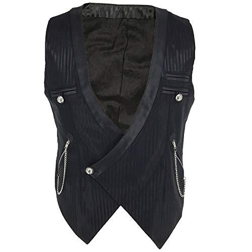 Sex icon Mens Gothic Steampunk Vest Renaissance Waistcoat (XL, Black)