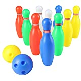 Yoptote Multicolor Bowling Ball Toys Set with 10 Pins and 2 Bowling Balls Education Toys Great Gift for Children Kids 3 Years Old and up
