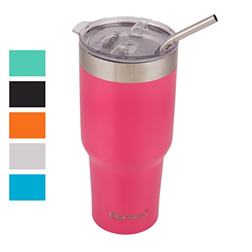 Boroux Climate Series 30oz Insulated Stainless Steel Tumbler Cup / Travel Coffee Mug with Extra Wide Stainless Steel Straw - Petal Pink