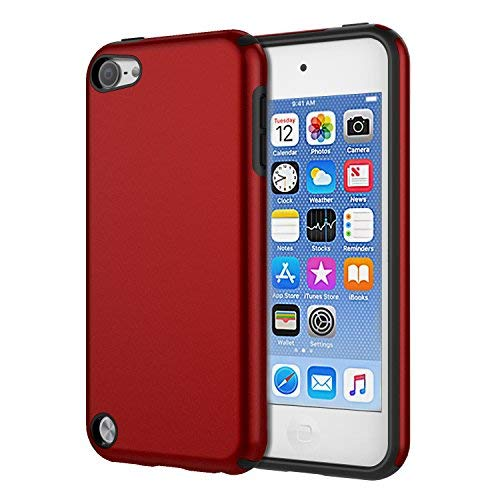 (KELIFANG Case Compatible with iPod Touch 7, 6 and 5, Ultra Slim Full Body Protective Case with Dual Layer Shockproof TPU Bumper Hard Back Cover Compatible with 7th/6th/5th Generation, Red  )