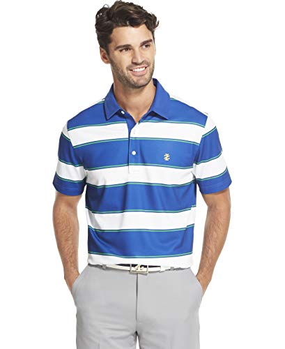 IZOD Men's Golf Short Sleeve Stripe Polo, Bright White S2019, Small