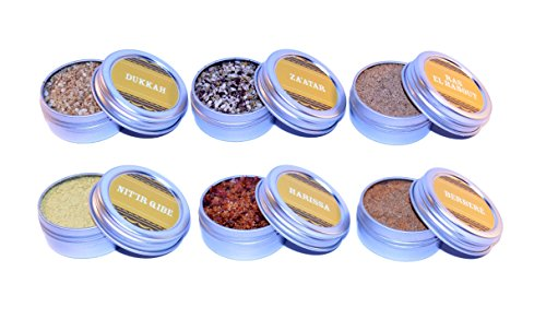 The Kitchen IMP North African Spice Sampler Set With 6 Tins 10grams Each   Ideal For Seasoning & Marinating Meat, Grains, Fish, Veggies & More   Premium Cooking Gift Set