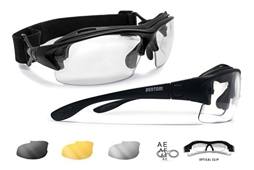 Prescription Sport Sunglasses Goggles – 3 Interchangeable Antifog Lenses - Sport Glasses with Optical Clip for Pescription Lenses - Interchangeable Arms and Strap –AF399 Mat Black by Bertoni - Sunglasses Insert Prescription