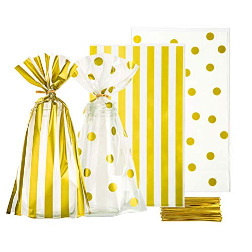 Clear Cello Bags 6x10 inch for Treat Candy Cookie Party Favor Bags, Gold Stripe and Gold Dot,Pack of 100 ()