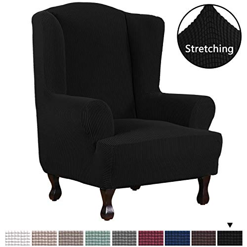 H.VERSAILTEX 1 Piece Sofa Cover Spandex Jacquard Fabric Furniture Slipcover Stay in Place High Stretch Rich Jacquard Wing Back Armchair Slipcovers, Skid Resistance Machine Washable(Wing Chair, ()