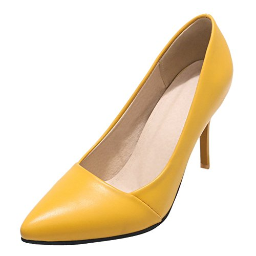 3f12133ac98bd Charm Foot Womens Eleganti Scarpe A Punta Stiletto Scarpe Gialle ...