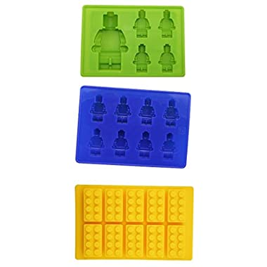 Jollylife Yellow Building Brick & Blue & Green Multi-size Minifigure Silicone Ice Tray Candy Mold Set (Blue/Green/Yellow, 1)