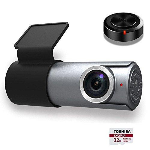 Goluk T1 Mini Car Dash Cam FHD 1080P Wi-Fi Car Digital Driving Video Recorder with 32G TF Card, 152 Degree Wide Angel G-Sensor, Night Vision, Motion Detection, Parking Monitor(Silver gray)