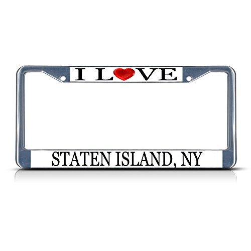 Frame Island (License Plate Frame I Love Heart Staten Island, Ny Aluminum Metal License Plate Frame)