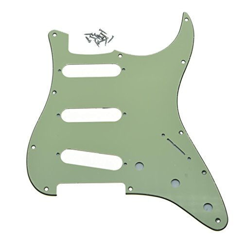 Dopro 11 Hole Vintage 62 Strat ST SSS Single Coil Pickups Guitar Pickguard Scratch Plate with Screws for American Fender 62 Stratocaster Mint Green 3 Ply