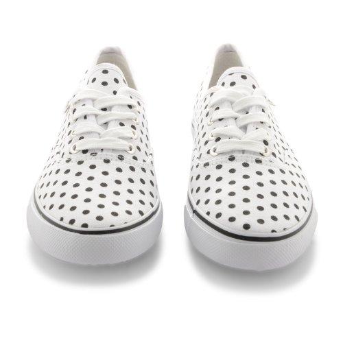 Mujer Dunlop cordones de lunares Zapatillas De Lona Zapatillas Zapatillas azul - blanco/negro