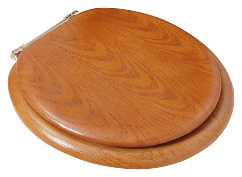 LDR 050 1700 Round Wood Toilet Seat with Polished Brass Finish Hinges, Oak
