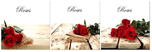Natural art Red Roses on Wooden Board for Wall Decoration Red Flowers Canvas Painting with Wooden Frame 12x12 Inch 3 Panels