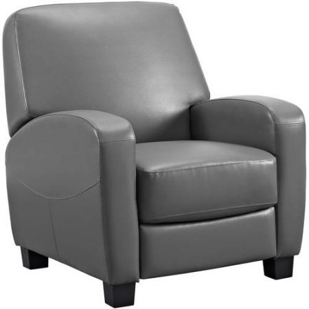 Faux leather, Steel mechanism and Foam seating Home Theater Push-back Recliner, Gray by Mainstay