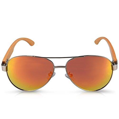 couleurs Verre UV400 bois en soleil Navaris Argenté femme de aviateur différentes polarisé bambou Lunettes de Unisexe Jaune Pilotes branches homme zvqzIwnTgX