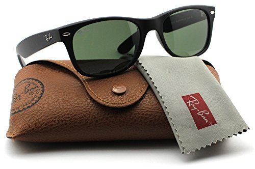 Ray-Ban RB2132 622 Wayfarer Sunglasses Black Rubber Frame / Green Lens - Wayfarer Ray Small Ban