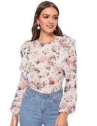 Milumia Blusa Elegante con Estampado Floral con Volantes y Manga Larga para Mujer