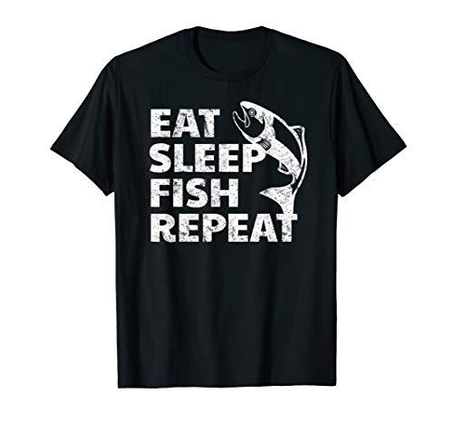 Eat Sleep Fish Repeat distressed vintage Fishing Shirt