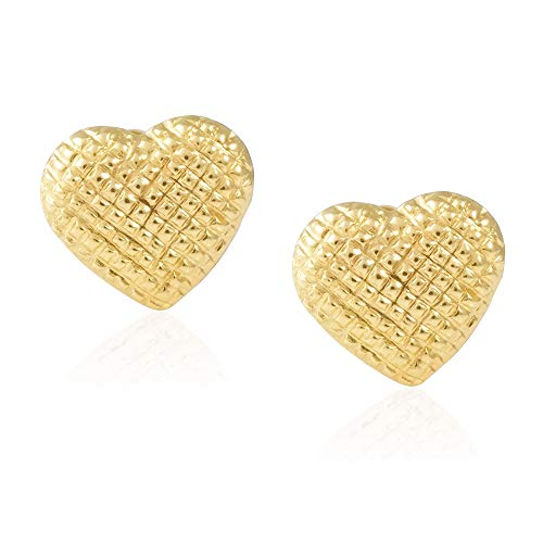 14KT Yellow Gold Weave/Mesh Heart Children Screwback Baby Girl Stud Earrings - Charming with Secure Backings