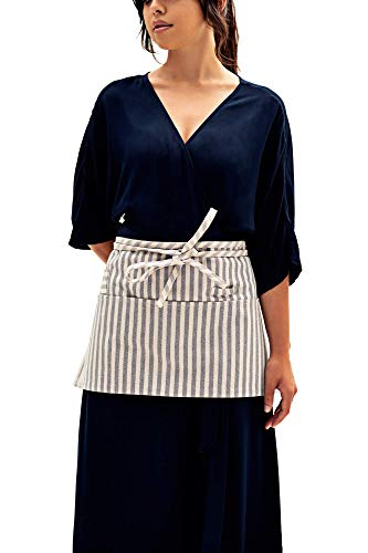 MEEMA Waist Apron with Pockets | Striped Eco Friendly Upcycled Cotton and Denim Apron | Zero Waste Waitress Apron, Server Aprons | Half Apron for Crafts, Restaurant, Shop Work Apron, Art Smock, Garden