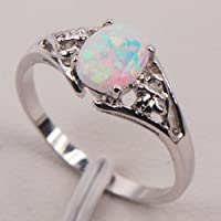 Siam panva White Fire Opal 925 Sterling Silver Gemstone Jewelry Ring Size 5 6 7 8 9 10 11 (6)