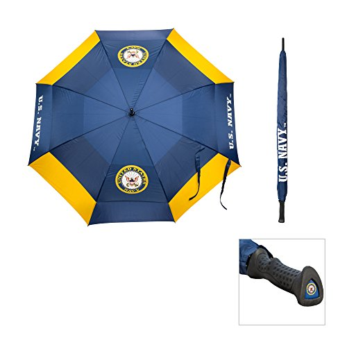 """Team Golf Military Navy 62"""" Golf Umbrella with Protective Sheath, Double Canopy Wind Protection Design, Auto Open Button"""