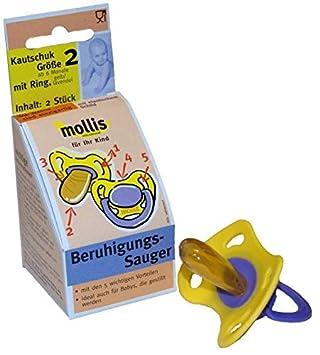 1 x 2 Stk Mollis Kautschuk-Schnuller Gr 2 ohne Ring
