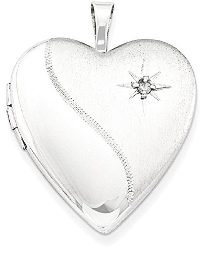 ICE CARATS 925 Sterling Silver 20mm Diamond Heart Photo Pendant Charm Locket Chain Necklace That Holds Pictures W/chain Fine Jewelry Gift For Women Heart by ICE CARATS