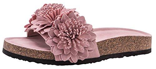 Cambridge Select Women's Open Toe Flower Fringe Detail Flatform Slip-On Flat Slide Sandal (8.5 B(M) US, Mauve) Fringe Detail Leather