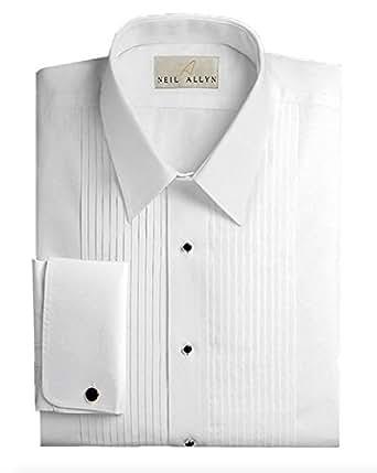 Slim fit tuxedo shirt 100 cotton laydown collar with for Tuxedo shirt french cuff
