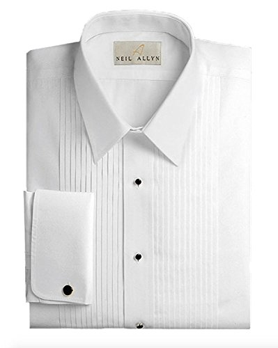 Slim Fit Tuxedo Shirt By Neil Allyn - 100% Cotton Laydown Collar with French Cuffs (15 - 32/33)