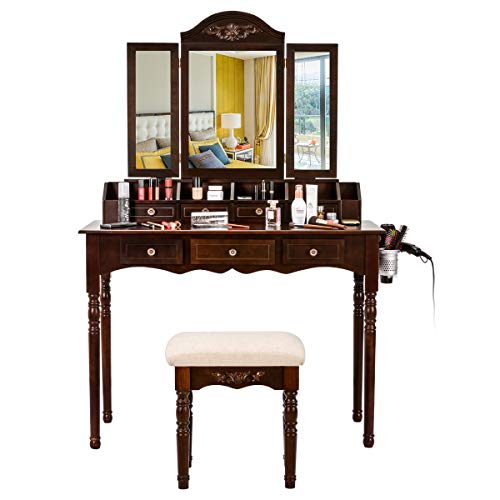 Oak Table Set Dressing - Vanity Table Set, Vanity Desk Dressing Makeup Table + Tri-Folding Mirror + Cushioned Stool + 7 Drawers Desk Organizer (Brown)