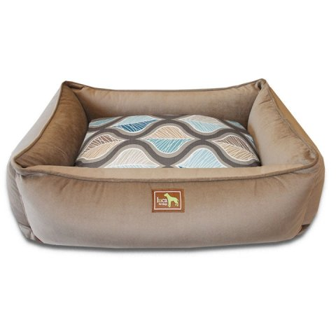 Luca For Dogs Cocoa Lounge Bed with Two Hampton Blue & Cocoa Covers44; Extra Large