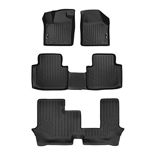 - SMARTLINER Floor Mats 3 Row Liner Set Black for 2018-19 Volkswagen Atlas with 2nd Row Bench Seat Without Fender Premium Audio