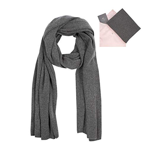 Gray 100% Cashmere - 100% Cashmere Wrap Scarf Shawl for Women, Pure Luxury Knit, Ultra Soft, Lightweight and Warm includes Beautiful Silk Gift Bag (Charcoal Gray)