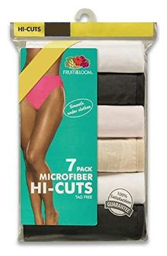 Fruit of the Loom Women's 7-Pack Microfiber Assorted Hi-Cut Panties 7DMF251 (10 / 3XL (Hips 46
