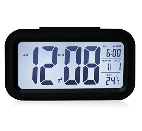 "EIALA 5.4 "" Light-sensor Smart Simple and Silent Alarm Clock w/ Date Temperature Display Repeating Snooze and Sensor Light + Night Light Progressively Louder Wakey Alarm (Black)"