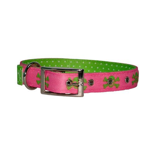 Yellow Dog Design Uptown Collar, Large, Pink/Green Skulls on Green Polka