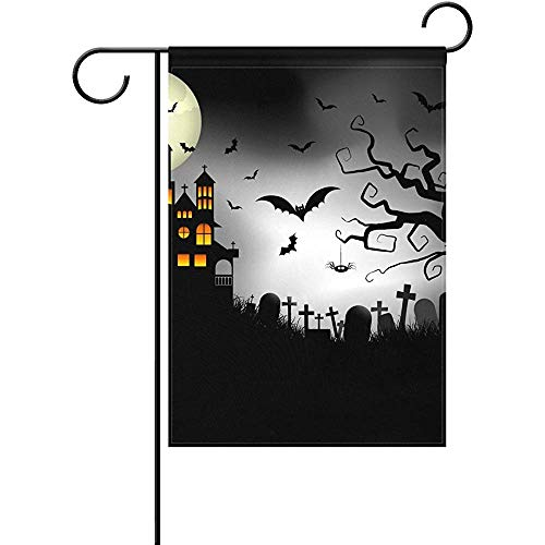 Staropor Spooky Halloween Background Polyester Garden Flag Outdoor Flag Home Party Garden Decor 12 x 18 Inch -