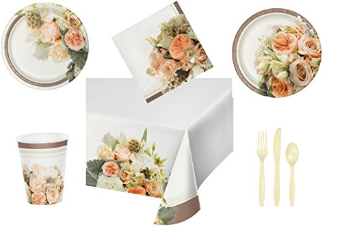 Rose Gold Bouquet Bridal Shower/Wedding Tableware Bundle, Includes 8 Banquet Plates, 8 Luncheon Plates, 16 Napkins, 8 Hot/Cold Cups, 1 table cover, and 8 forks, knives, and spoons