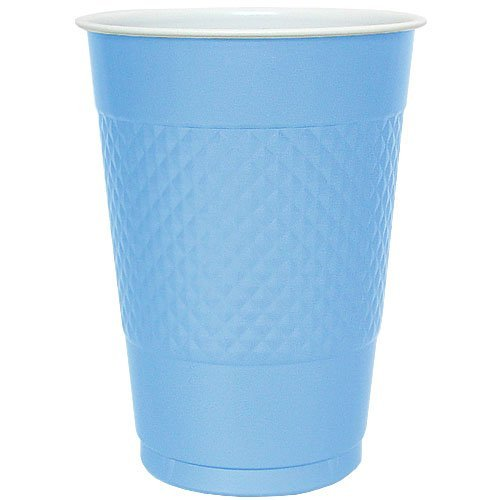 Hanna K. Signature Collection 50 Count Plastic Cup, 18-Ounce, Light Blue