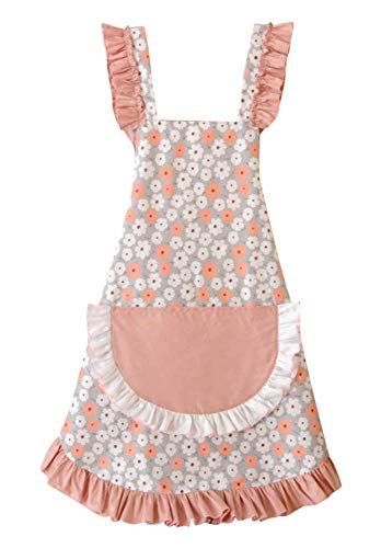 CRB Fashion Kitchen Apron with Pocket for Women Ladies Wife Daughter Vintage Style Baking Cooking (Dusty Daisy)